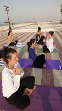 Leading a class of Karma Yogis in UAE